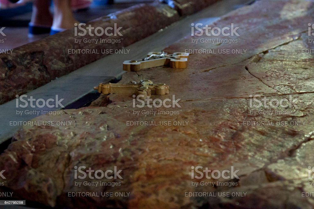 Stone of Anointing in the Church of the Holy Sepulchre stock photo