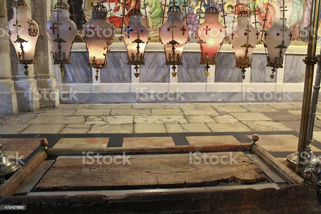 Stone of the Anointing at Holy Sepulchre stock photo