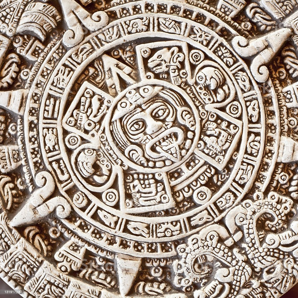 Stone of the Sun (Aztec calendar design) stock photo