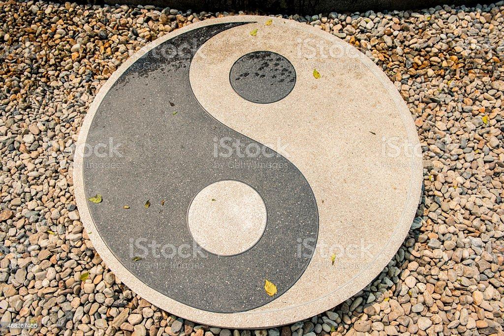 Stone of Yin-Yang symbol in Rongkhun Temple Chiangrai, Thailand. stock photo