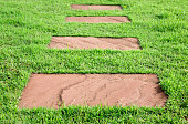stone walk way on green grass, abstract background