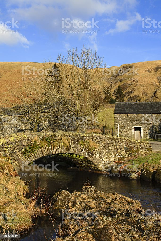 Stone Packhorse Bridge royalty-free stock photo