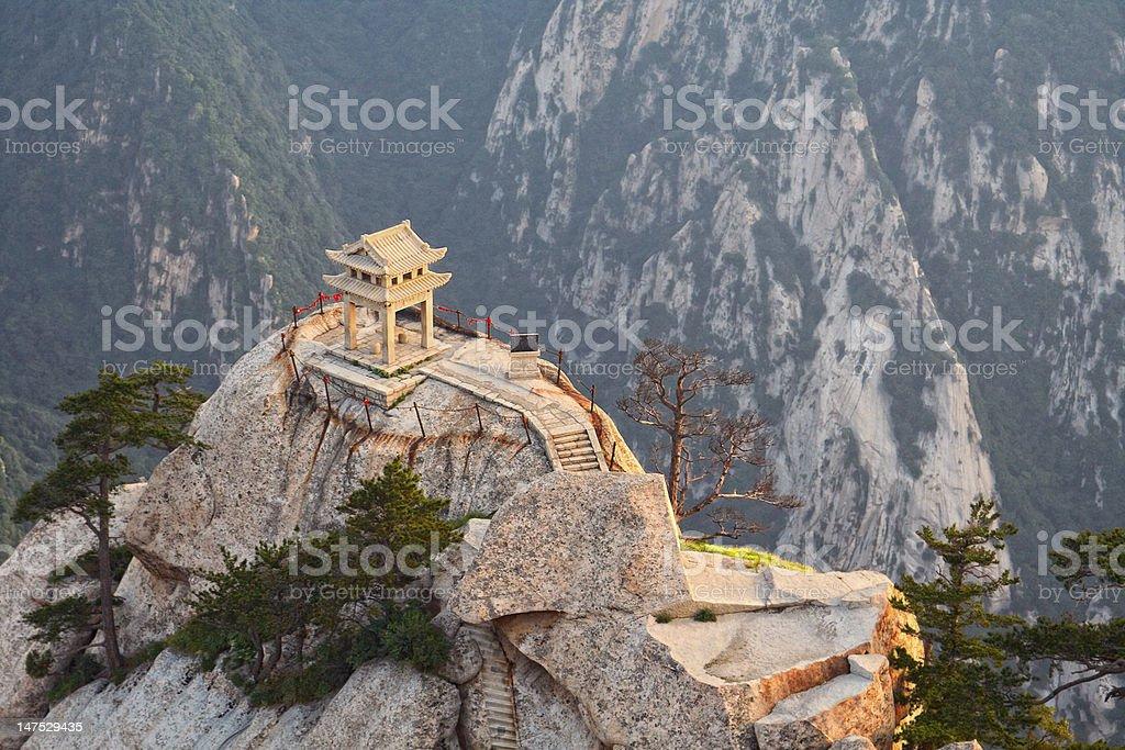 stone pagoda on the East Peak of holy mountain Huashan stock photo