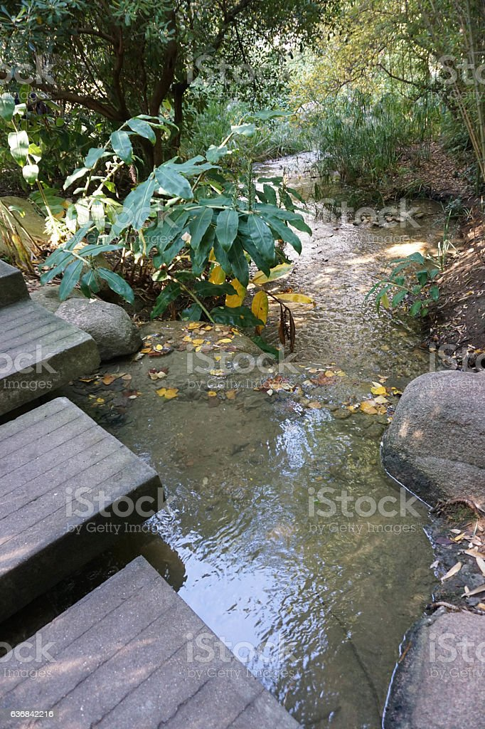 stone path across river stock photo