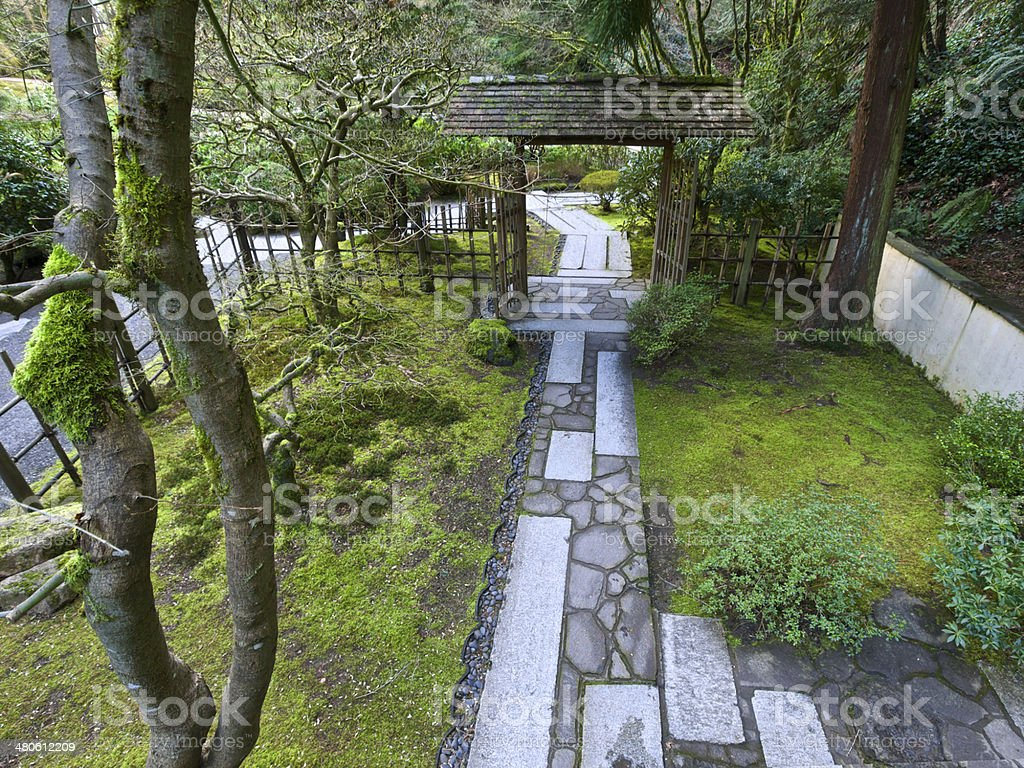 Stone Path Fence Entry Gate With Roof Portland Japanese Garden Royalty Free  Stock Photo