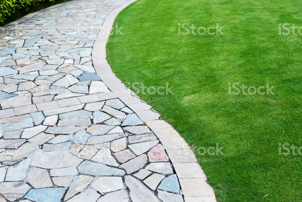Stone path in the formal garden stock photo