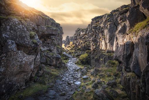 Stone Path through Pingvellir National Park in Iceland