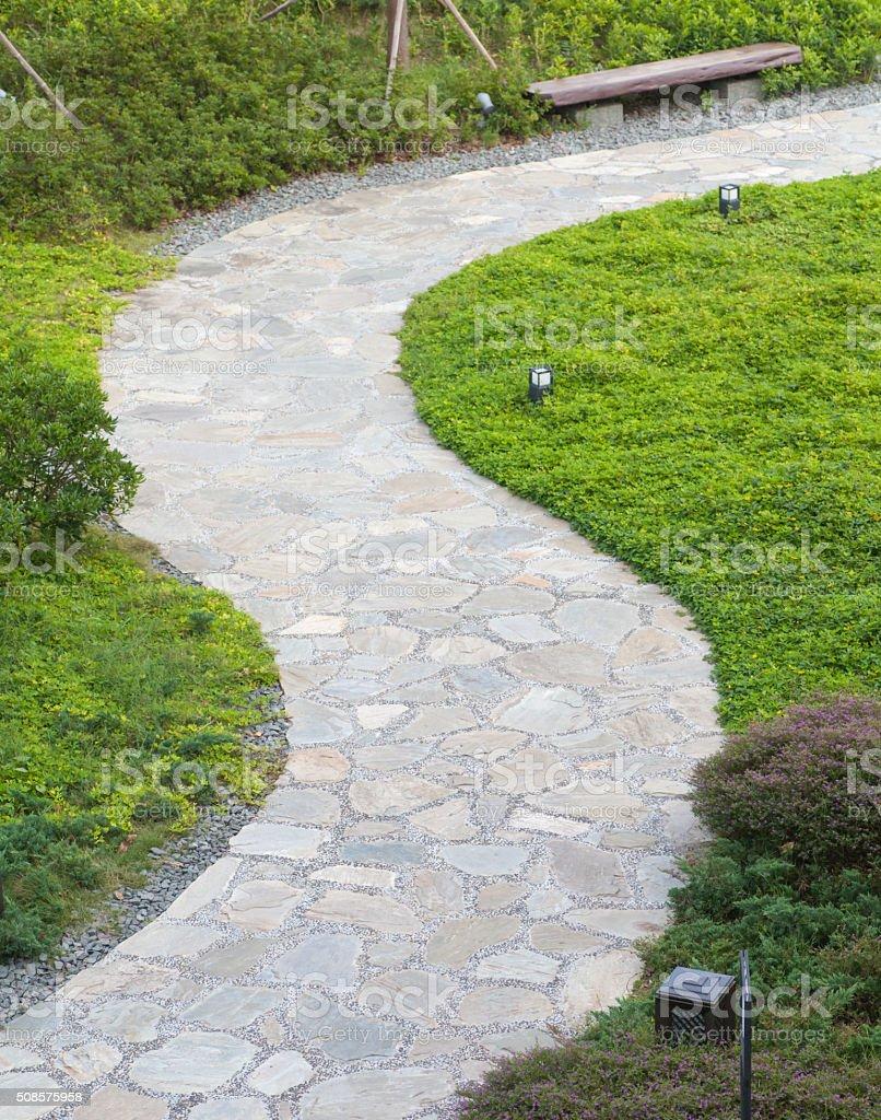 Stein Weg Gestaltung Im Wunderschönen Japanischen Garten Stockfoto