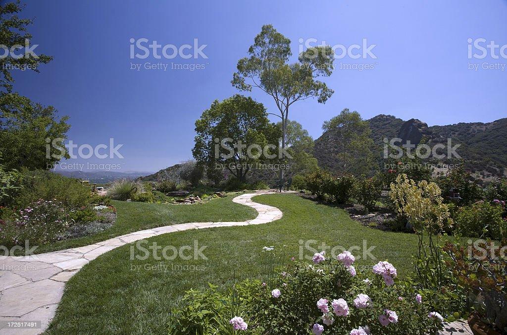 Stone Pathway in a Beautiful Yard stock photo