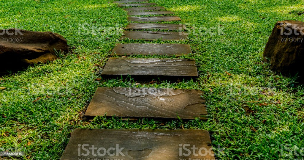 Stone Pathway in the park foto stock royalty-free