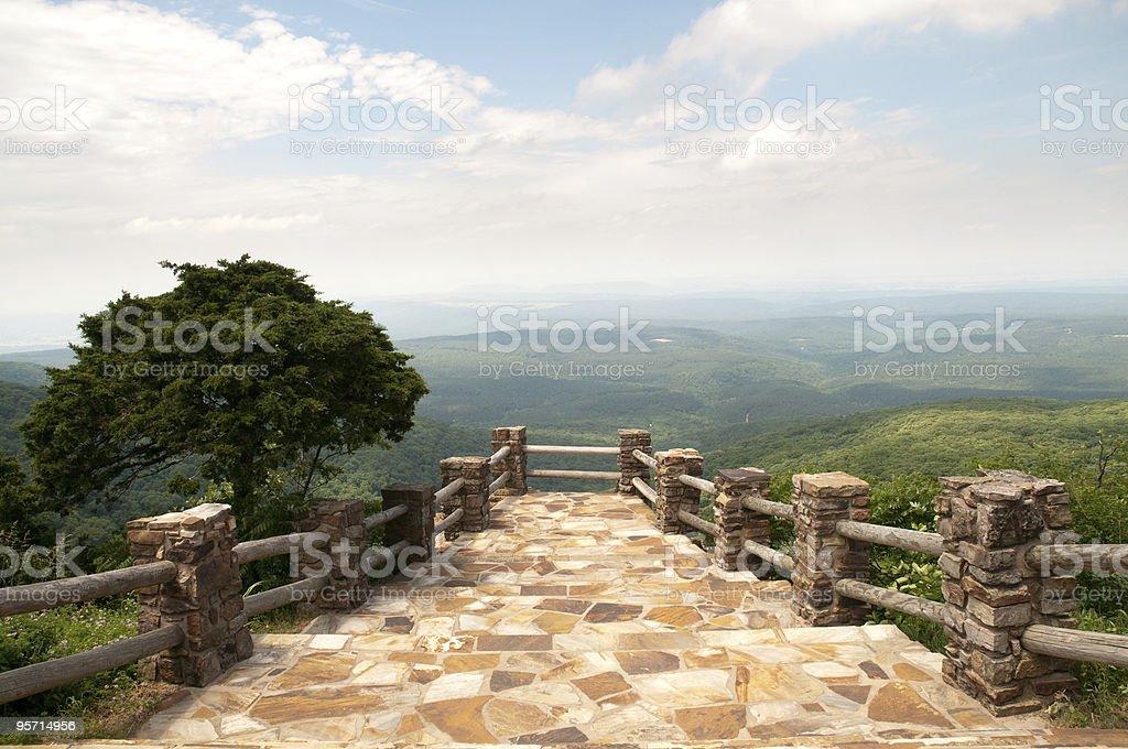 A stone pathway through Mount Magazine State Park stock photo