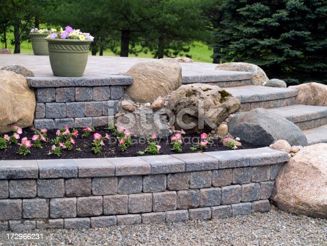 Design details of a stone patio and steps.