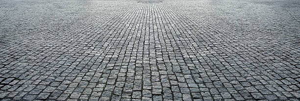stone pavement in perspective stock photo
