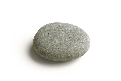 Stone Pebble, Gray, Close Up – Isolated on White Background