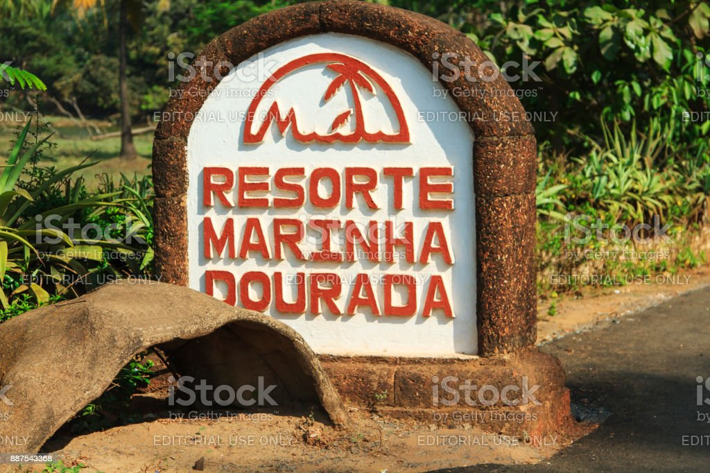 Stone pedestal with the name of the hotel stock photo