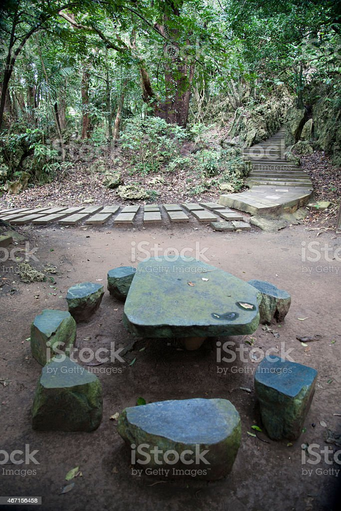 Picnic bench and footpath through Kenting National Forest recreation...