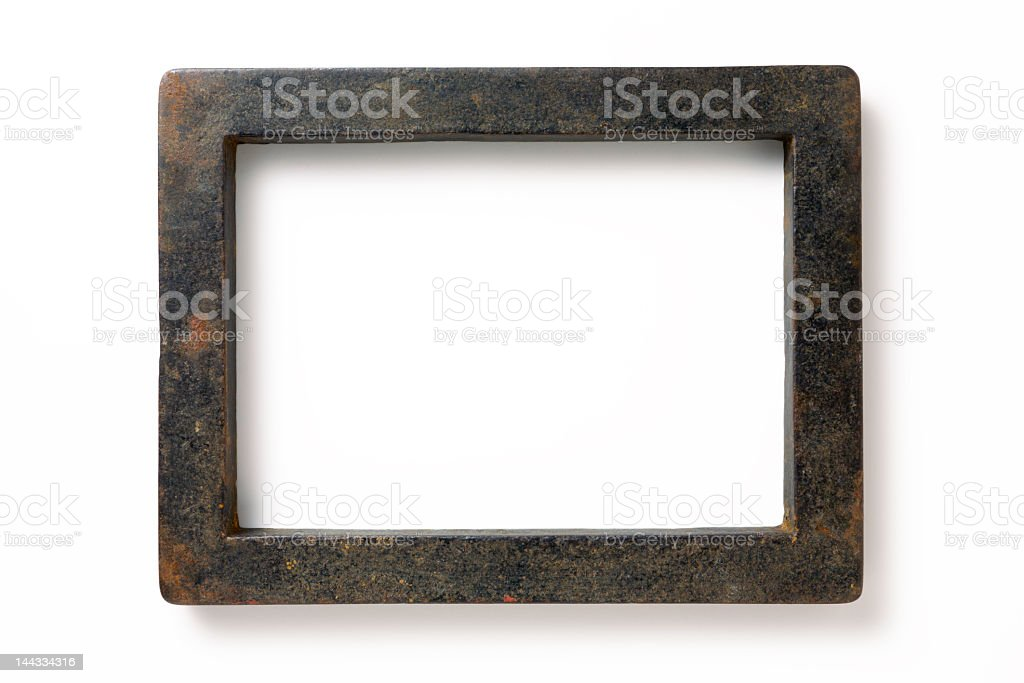 Stone picture frame set against white background stock photo