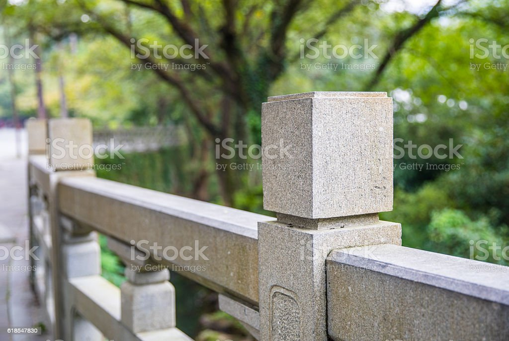 Stone pillar fence stock photo