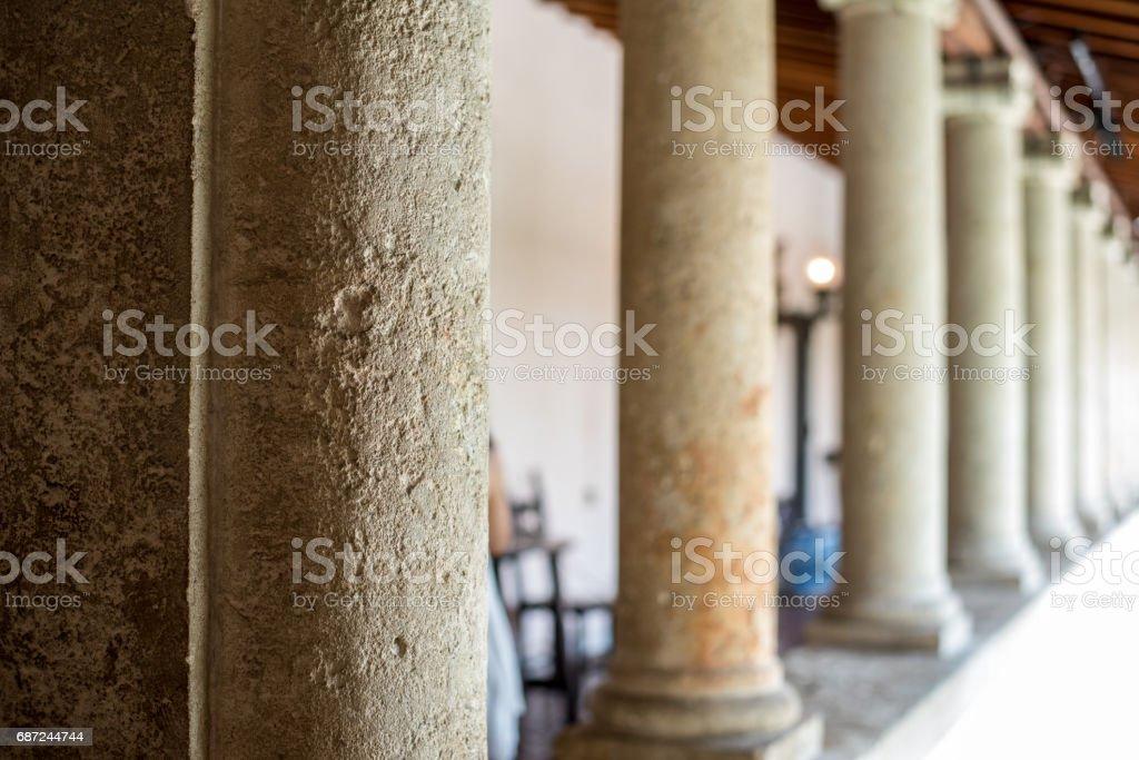 stone pillars stock photo
