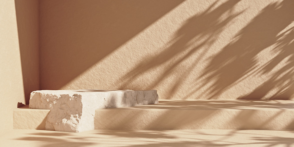 Stone product podium with sunshade shadow on the beige wall