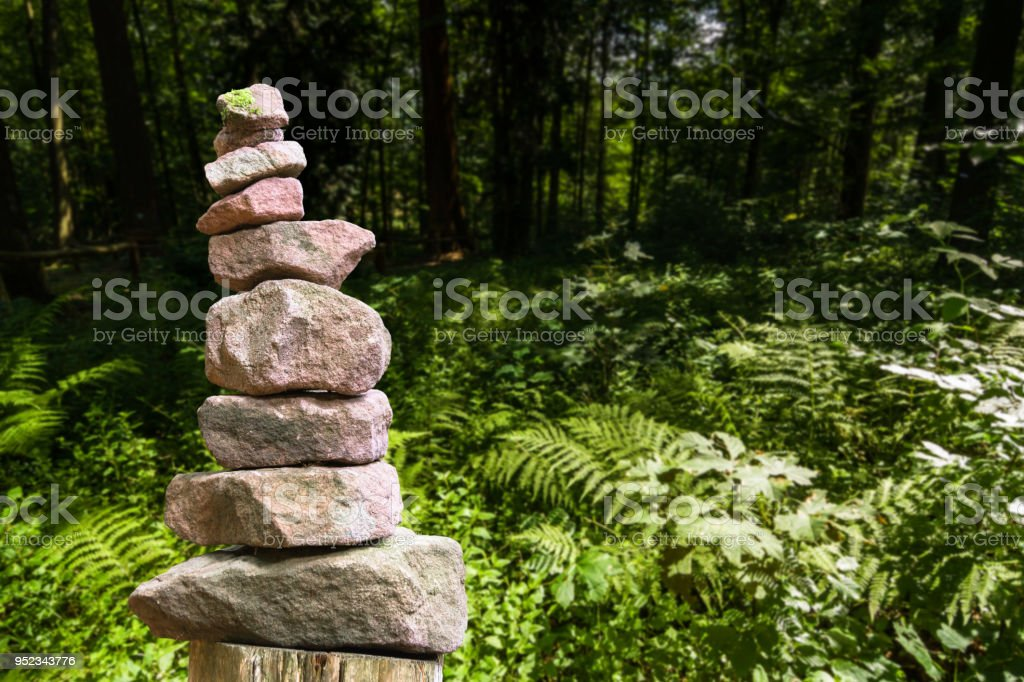 Stone pyramid and meadow with ferns stock photo