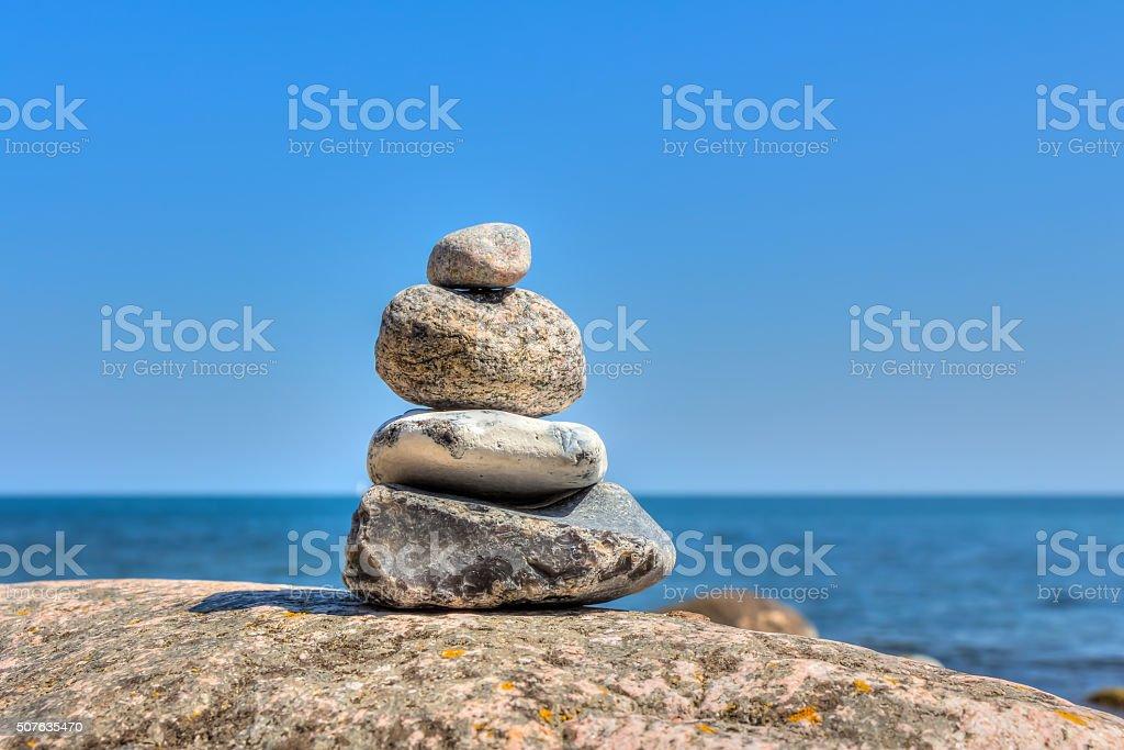 Stone pyramid stock photo