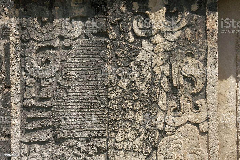 Stone Relief in Chichen Itza stock photo