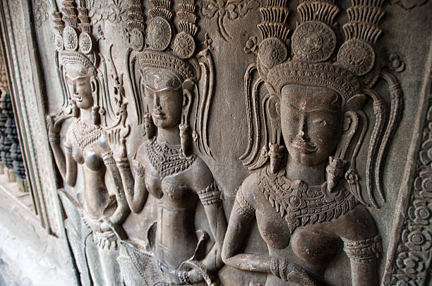 Stone relief inside the Angkor Wat temple, Cambodia stock photo