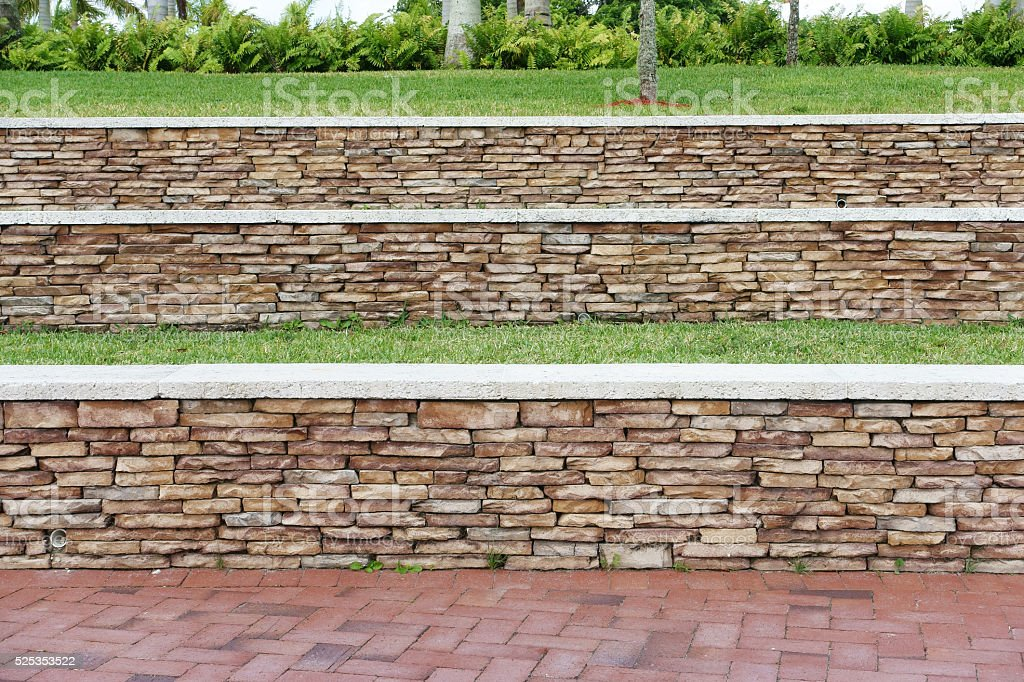 Stone retaining walls stock photo