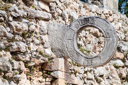 Stone ring at the Ball court Juego de Pelota at the ruins of the ancient Mayan city Uxmal, Mexi