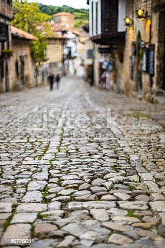 Stone road in a historical village Santillana del Mar, Spain