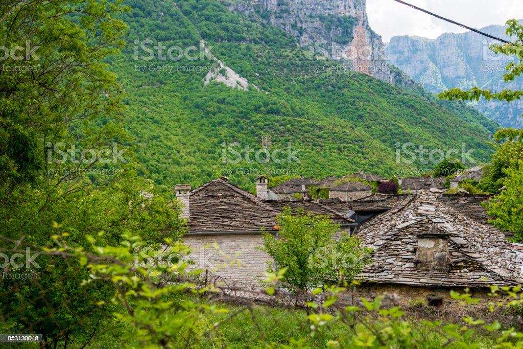 Stone roof houses in Mikro Papigko in Vikos Gorge, Greece stock photo