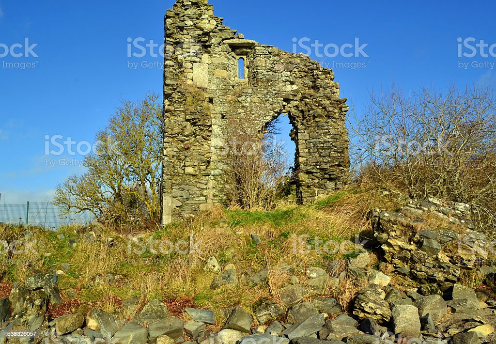 stone ruines at blessington lakes wicklow ireland stock photo