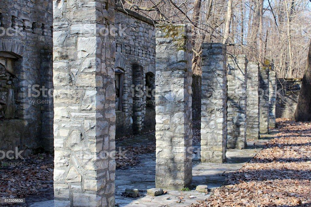 Stone Ruins WPA Era Fort Belle Fontaine Missouri stock photo