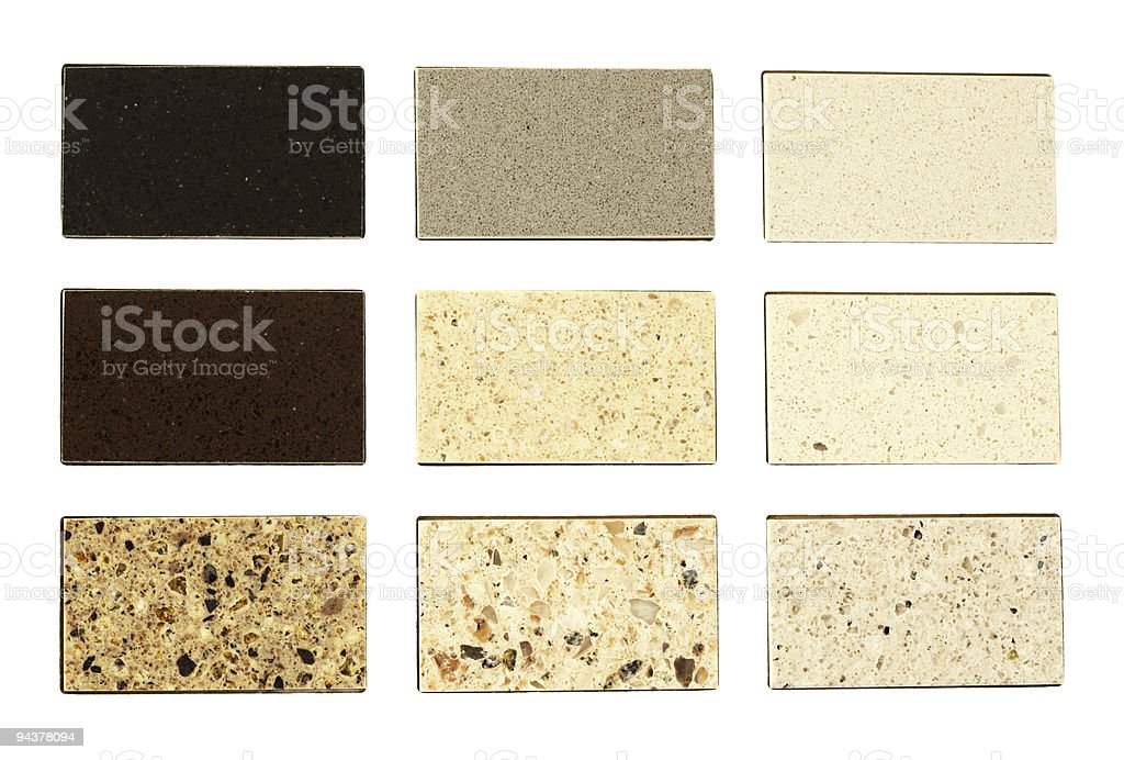 Stone samples for kitchen countertops royalty-free stock photo
