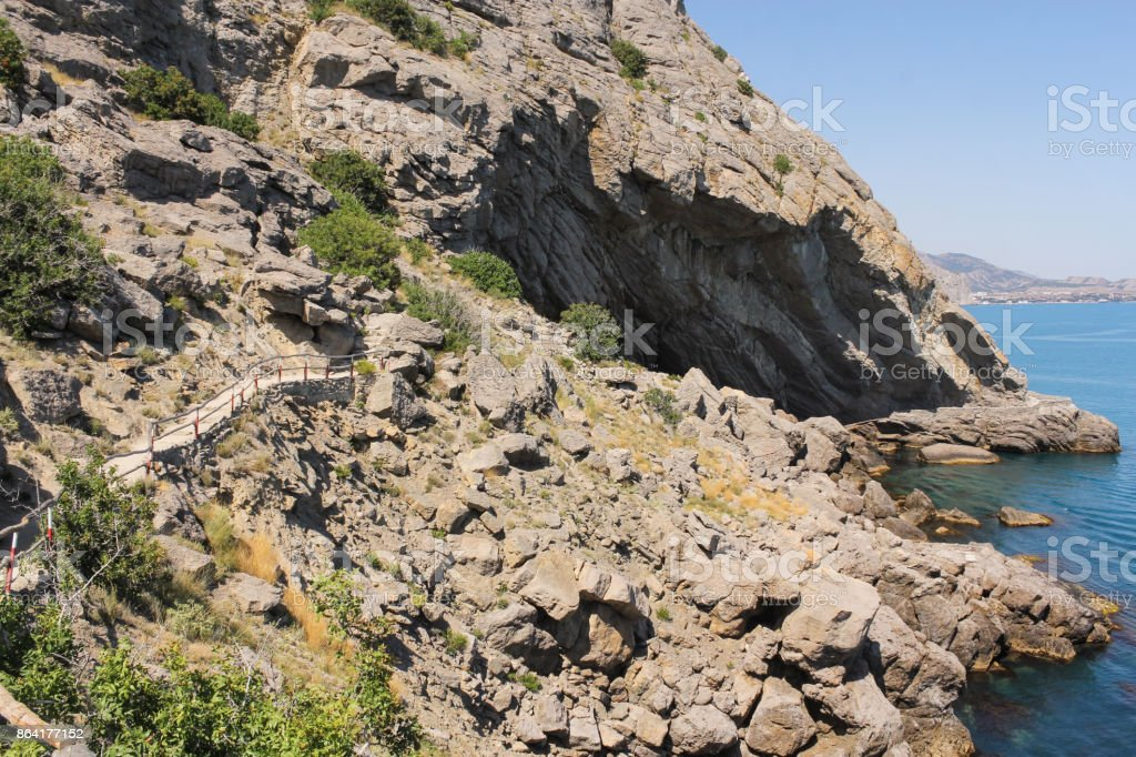 A stone scree on the shore. royalty-free stock photo