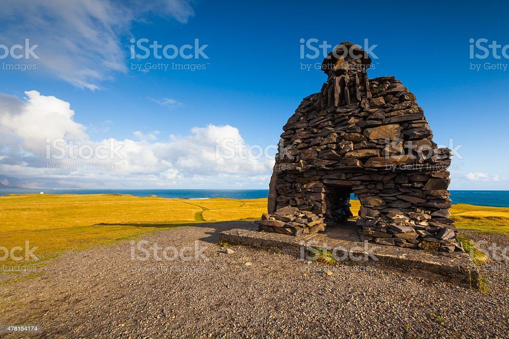Stone sculpture in Iceland stock photo