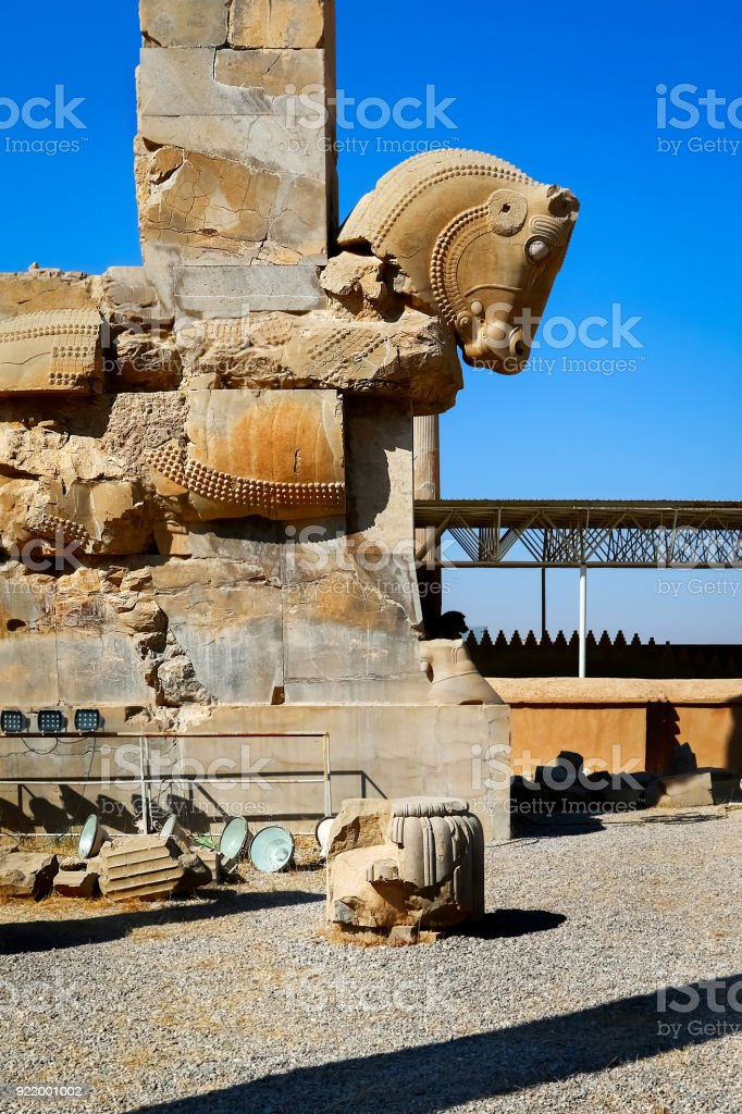 Stone Sculpture Of A Horse In Persepolis Against A Blue Sky With Clouds Iran Persia Shiraz Stock Photo Download Image Now Istock