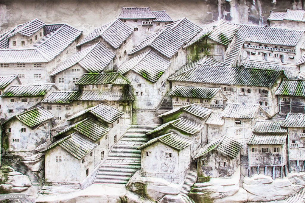 Stone sculpture: the face of the old Chinese city in Chongqing stock photo