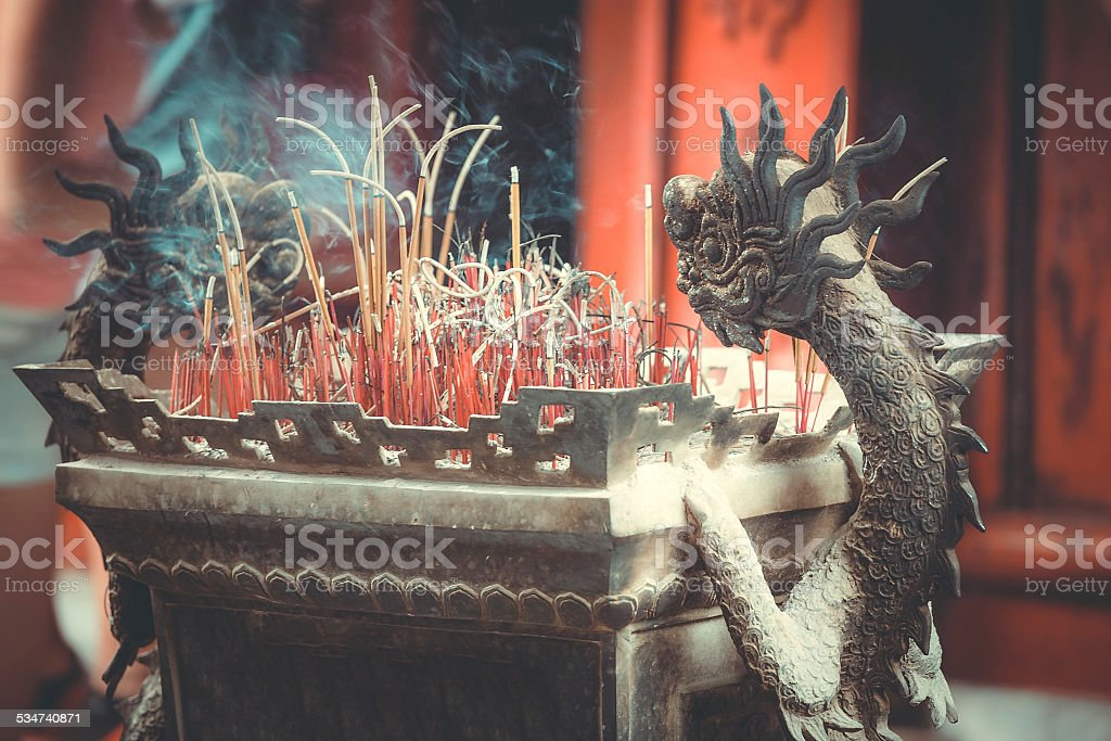 Stone sculptures of dragons stock photo