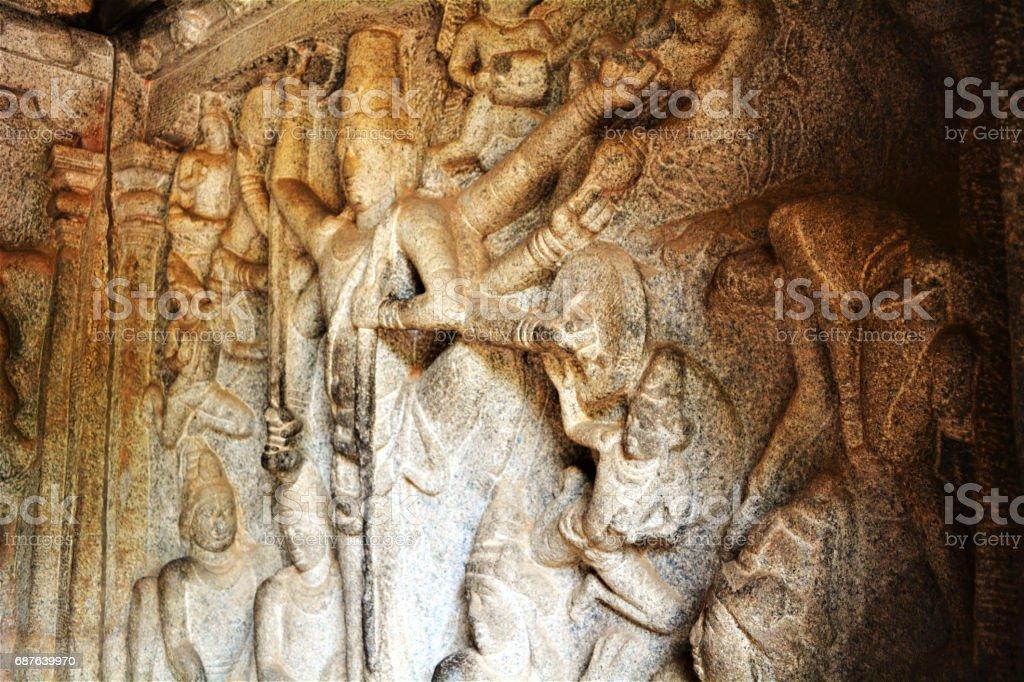 Stone sculptures of Hindu gods stock photo