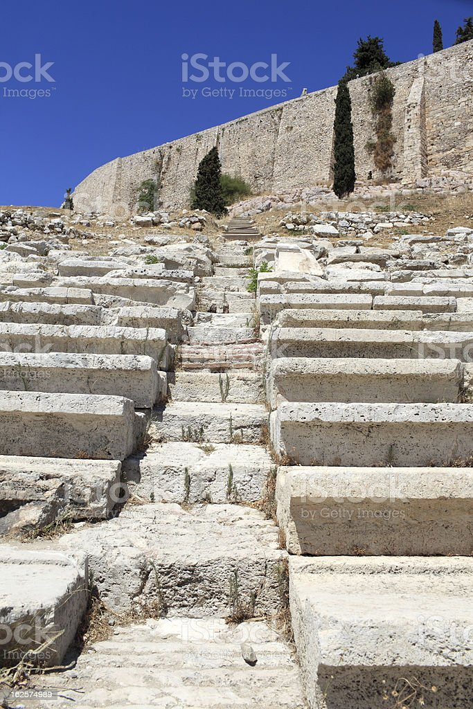Stone seats in Theater of Dionysus royalty-free stock photo