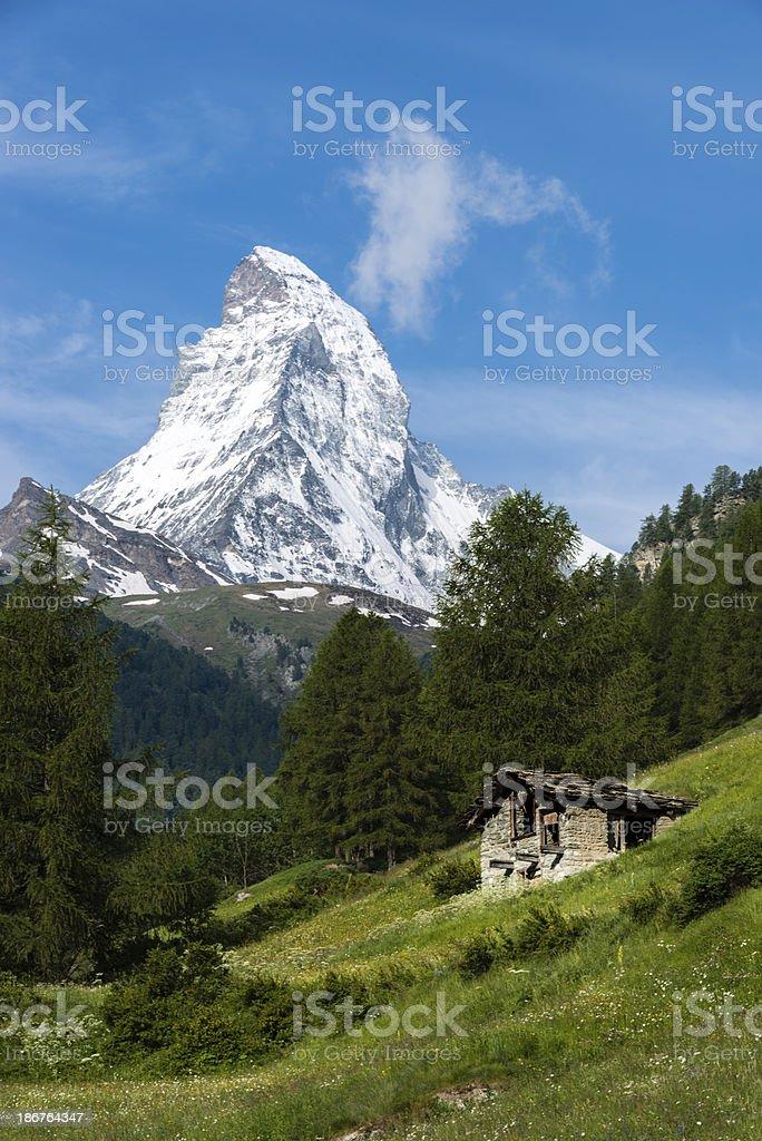 Stone shed and the Matterhorn mountain, Switzerland -XXXL royalty-free stock photo
