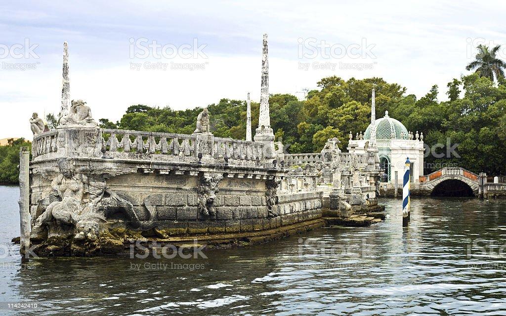 Stone Ship and Gazebo at Viscaya Gardens stock photo