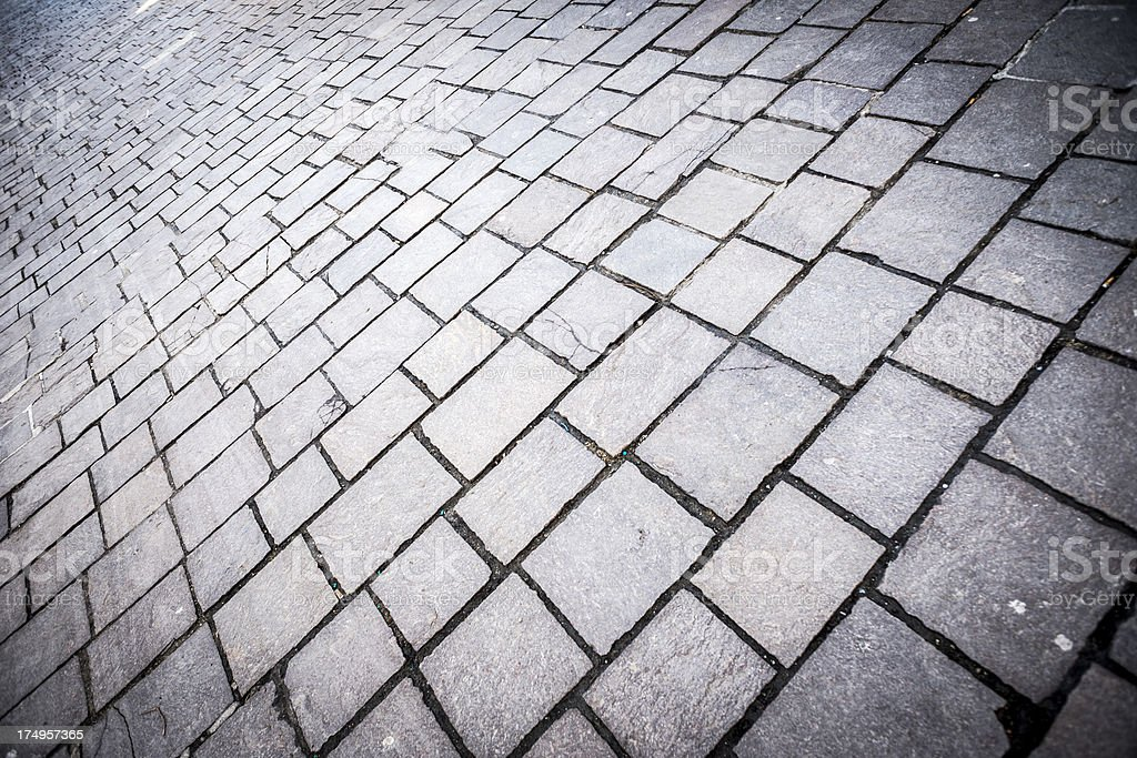 Stone sidewalk perspective wideangle royalty-free stock photo