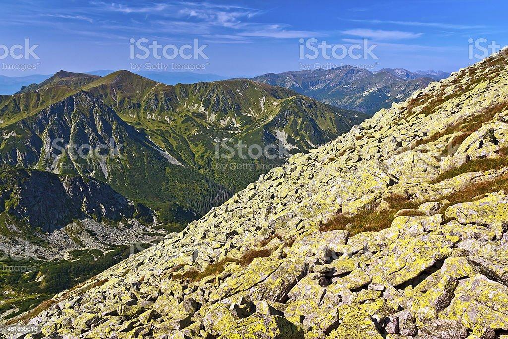 Stone slope in Western Tatra Mountains royalty-free stock photo