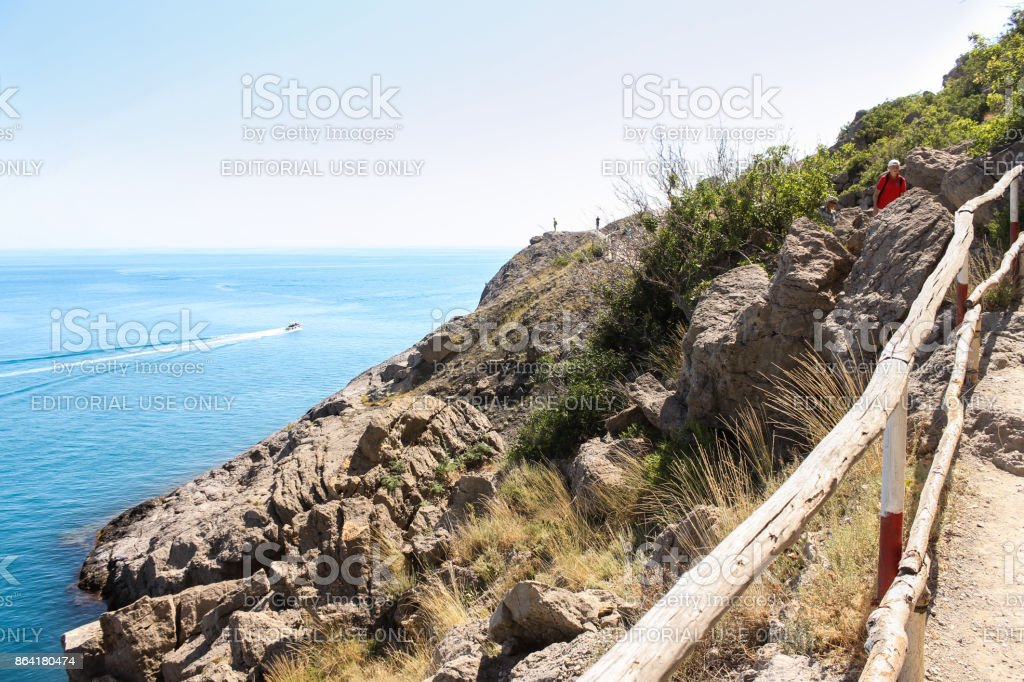 Stone slope to the beach. royalty-free stock photo