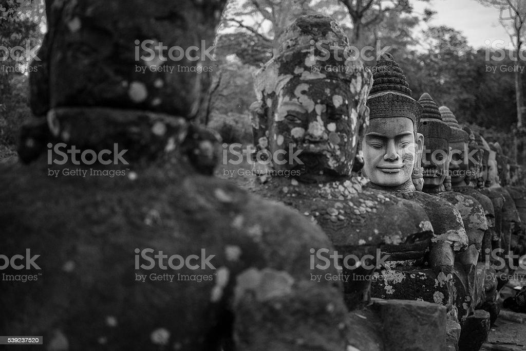 Stone soldier at Angkor Thom royalty-free stock photo