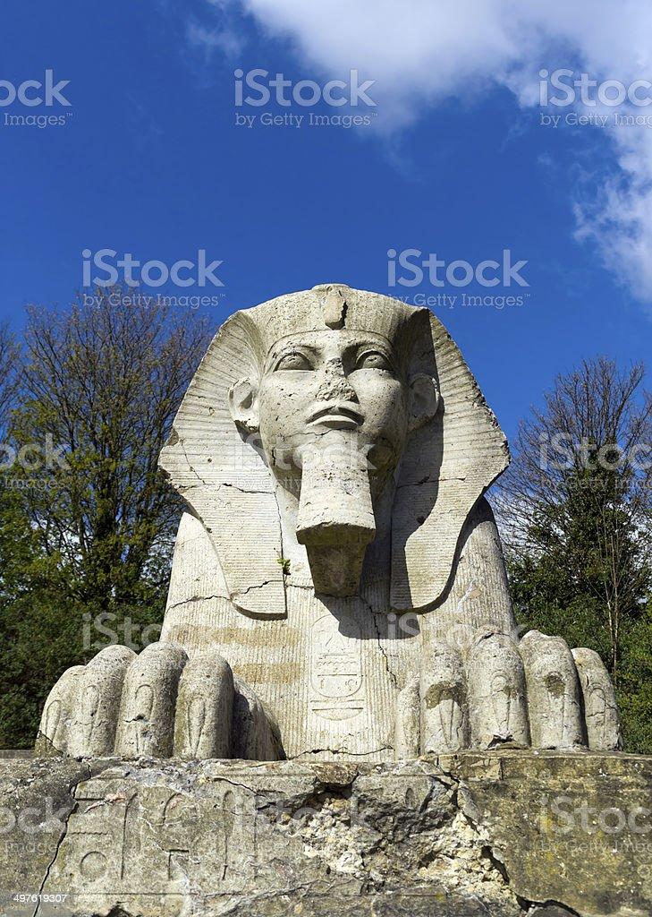 Stone sphinx front view stock photo