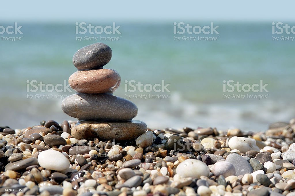stone stack on beach royalty-free stock photo